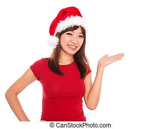 asiático, navidad, mujer, presentación