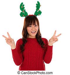 asiático, navidad, niña, actuación, victoria, signo.