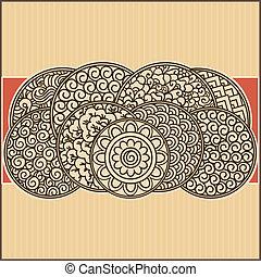 asiático, ornamental, cartão