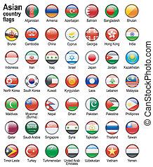 asiático, país, banderas