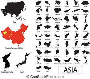 asiático, países, vectors