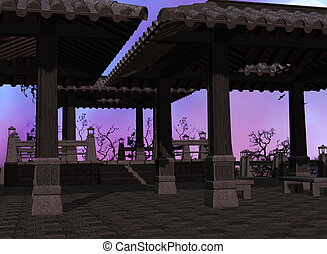 asiático, plano de fondo, templo