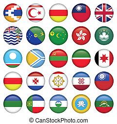 asiático, redondo, bandeiras