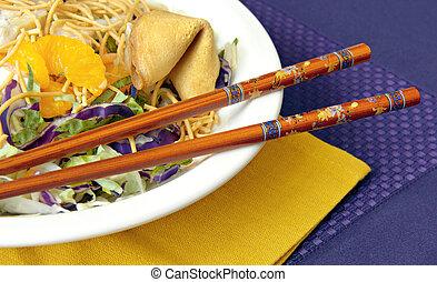 asiático, salada, chopsticks