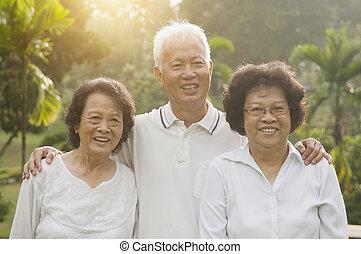 asiático, seniors, grupo, en, al aire libre, parque