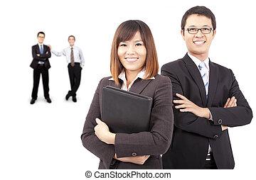 asiático, sucesso, equipe negócio