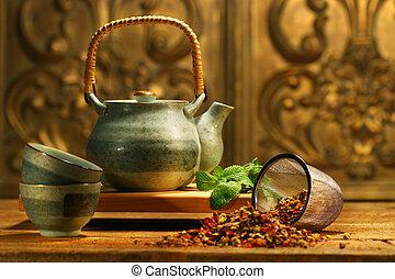 asiático, té de la hierba