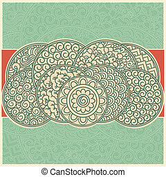 asiático, tarjeta, retro