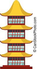 asiático, templo, ícone, apartamento, estilo