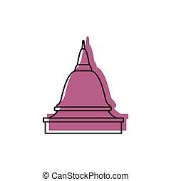 asiático, templo, ícone, doodle, estilo