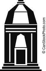 asiático, templo, ícone, simples, estilo