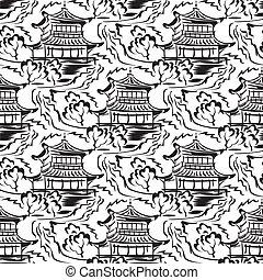 asiático, templo, seamless