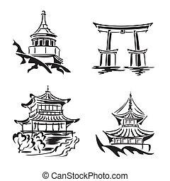 asiático, templo