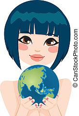 asiático, terra, mulher