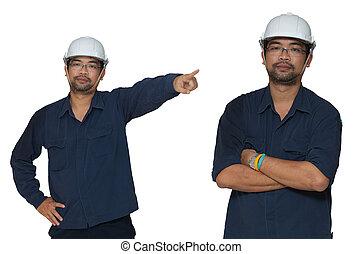 asiático, trabajador
