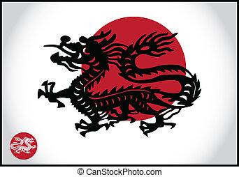 asiático, tradicional, dragão