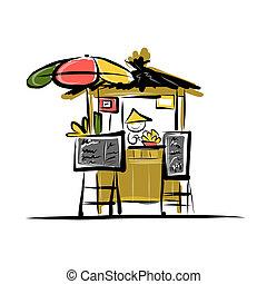 asiático, varejo, vendedor, ligado, mercado rua, esboço, para, seu, desenho