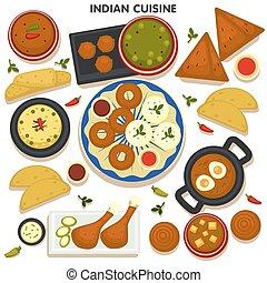 asiático, vetorial, jogo, alimento índio, cozinha tradicional