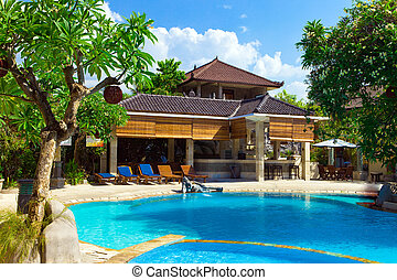 Asia. A tropical country house before pool