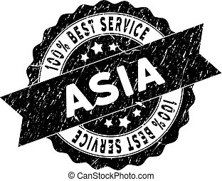 Asia Best Service Stamp with Grungy Style