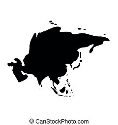 Asia black silhouette. Contour map of continent. Simple flat vector illustration