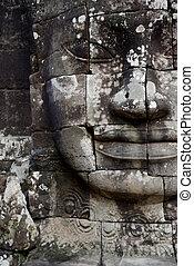 ASIA CAMBODIA ANGKOR ANGKOR THOM - Stone Faces the Tempel...