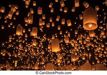 asia, chiang mai, tailandia, flotar, provincia, linterna