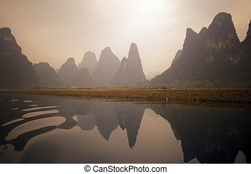 ASIA CHINA GUILIN - the landscape at the Li River near ...