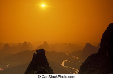 ASIA CHINA GUILIN - the landscape at the Li River near...