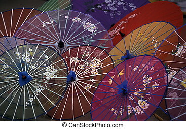 ASIA CHINA GUILIN - umbrellas for sale at the town of...