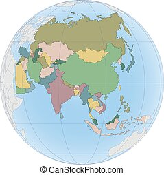 Asia continent is divided by country on the Globe