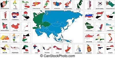 Asia countries flag maps