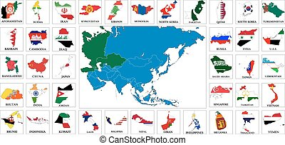 Asia countries flag maps