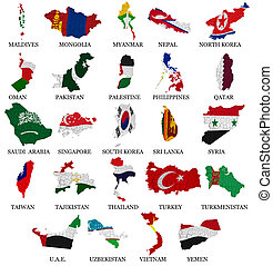 Asia countries flag maps Part 2 - Asia countries From M to Y...