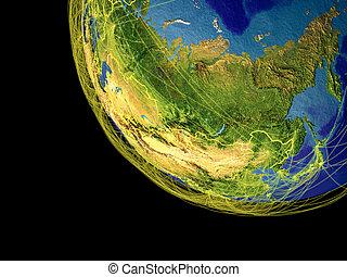 asia, de, espacio, en, tierra
