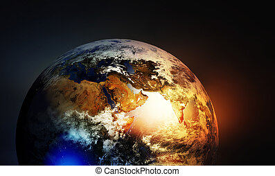 Asia europe and Africa continents on earth globe