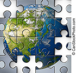 Asian financial crisis with China Japan Korea and other countries from Asia that are facing debt problems and budget challenges due to economic conditions affecting the Chinese curency and Japanese yen as a broken jigsaw puzzle.