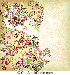 Asia Floral Background - Illustration of abstract floral...