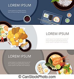 Asia food banners vector set. Thai food, japanese and...