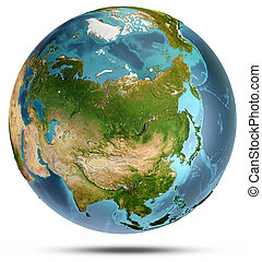 Asia from space. 3d rendering