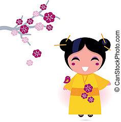 Asia girl in yellow kimono isolated on white - Cute little...