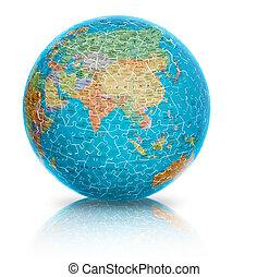 Asia Globe puzzle isolated on white
