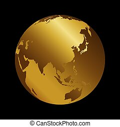 Asia golden 3d metal planet backdrop view . Russia, India and China world map vector illustration on black background