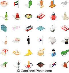 Asia icons set, isometric style