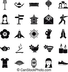 Asia icons set, simple style