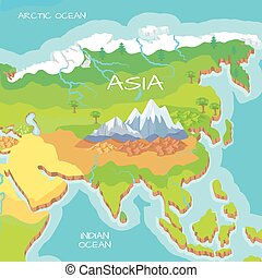 Asia Isometric Map with Natural Attractions