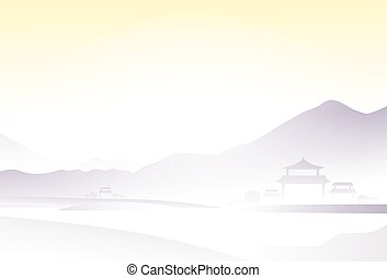 asia landscape china village mountain vector