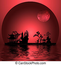 Asia Landscape with Moon