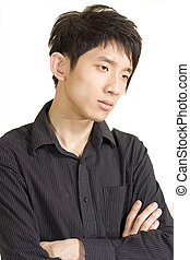 asia man in thinking pose isolated on a white background.