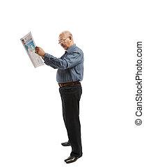 Asia man reads newspaper